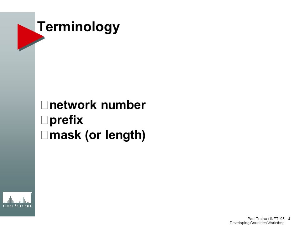 Terminology network number prefix mask (or length) 4