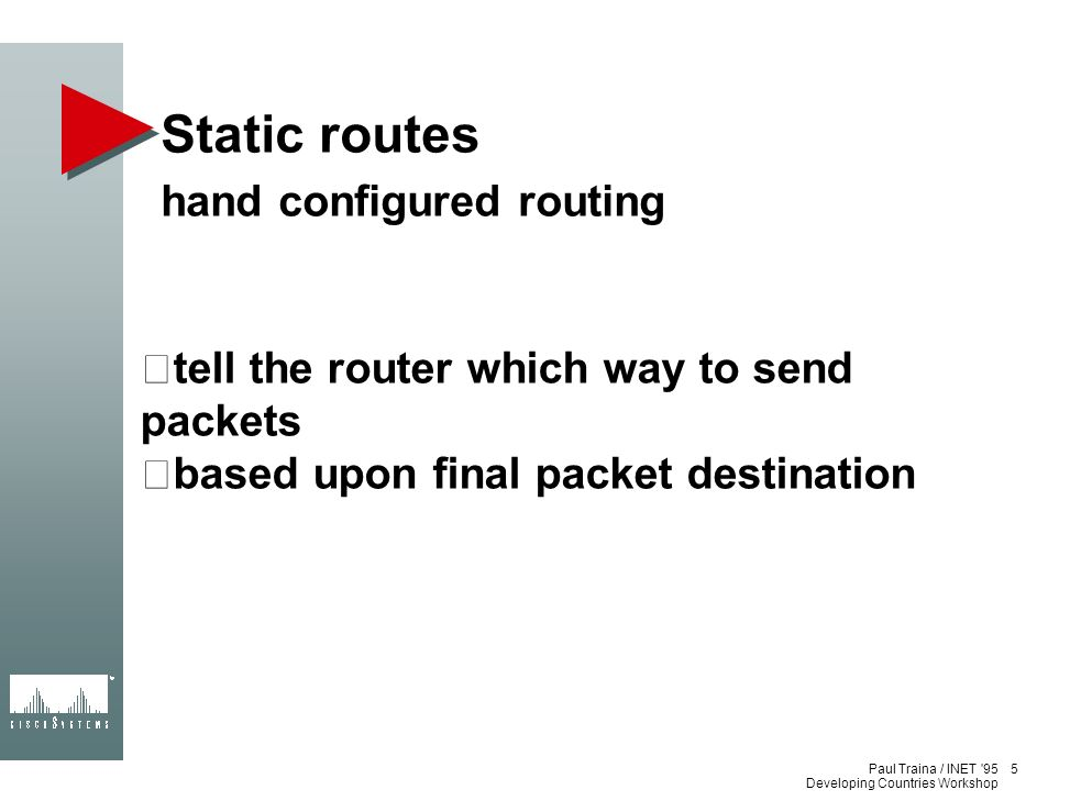 Static routes hand configured routing