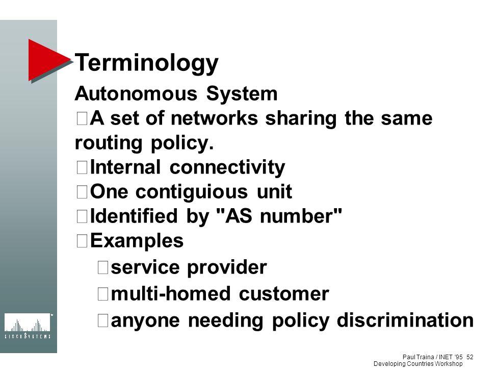Terminology Autonomous System