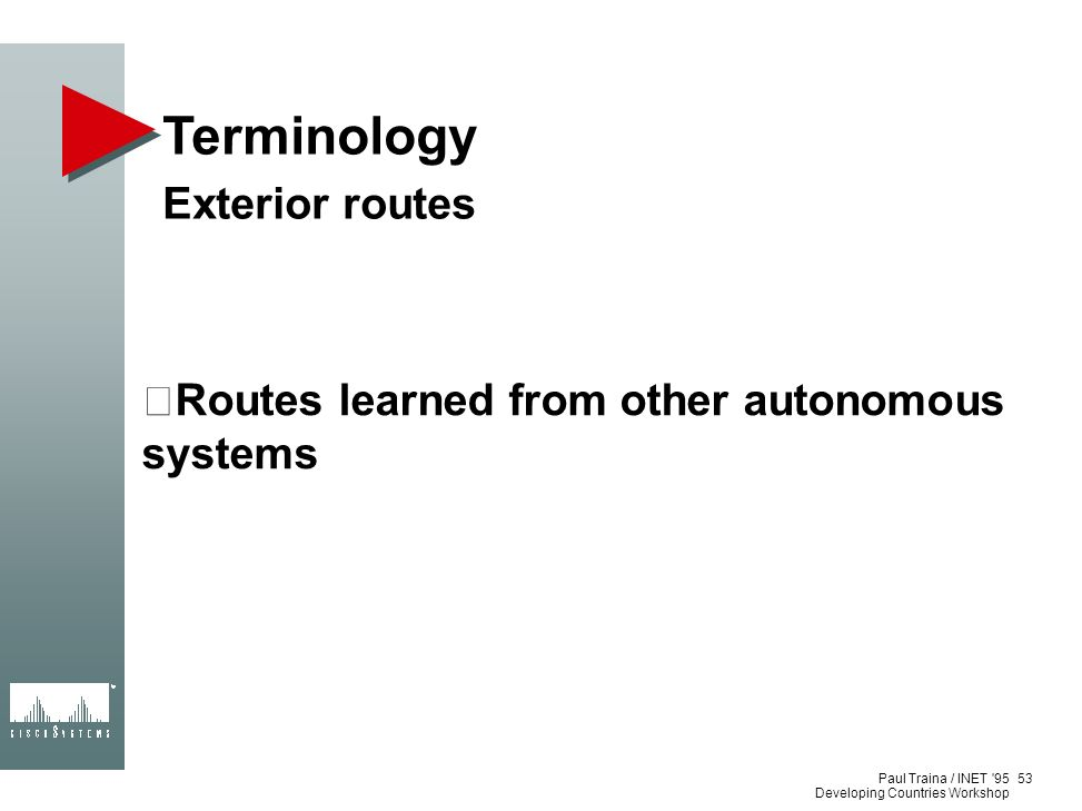 Terminology Exterior routes
