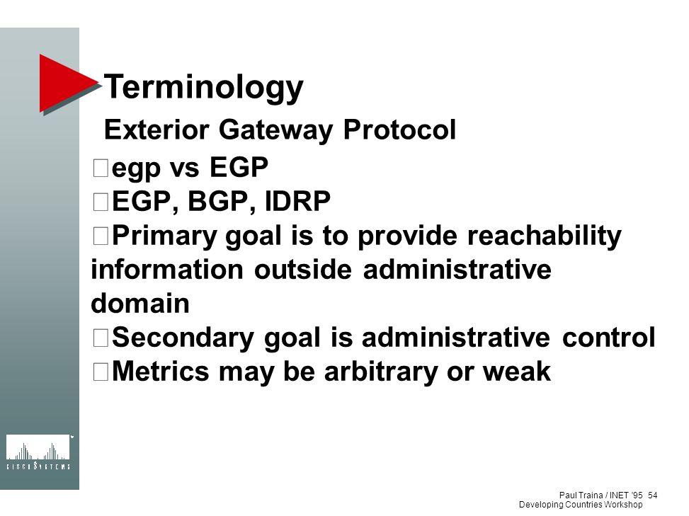 Terminology Exterior Gateway Protocol egp vs EGP EGP, BGP, IDRP