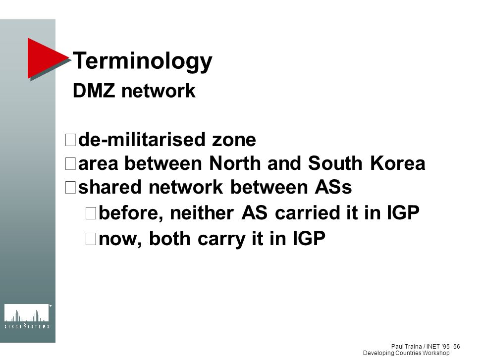 Terminology DMZ network de-militarised zone