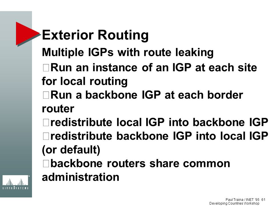 Exterior Routing Multiple IGPs with route leaking