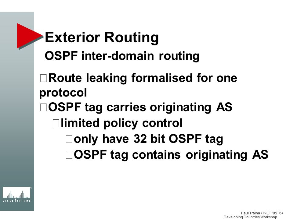 Exterior Routing OSPF inter-domain routing