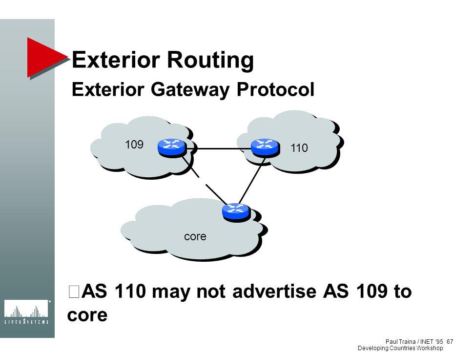 Exterior Routing Exterior Gateway Protocol