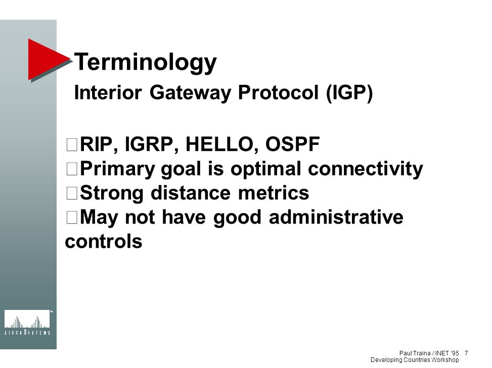 Terminology Interior Gateway Protocol (IGP) RIP, IGRP, HELLO, OSPF