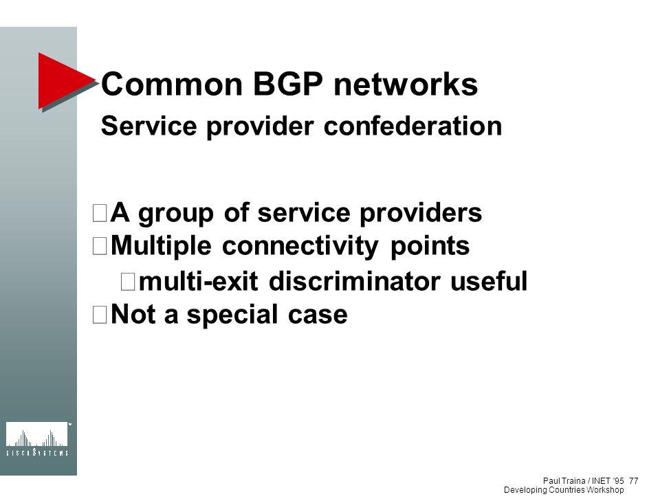 Common BGP networks Service provider confederation