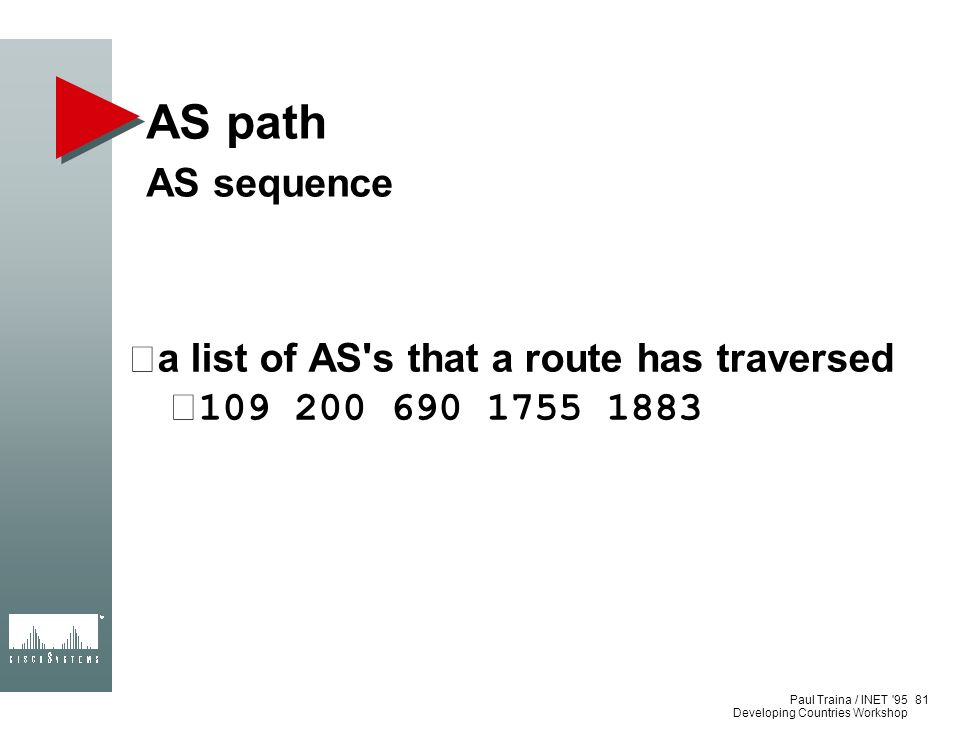 AS path AS sequence a list of AS s that a route has traversed