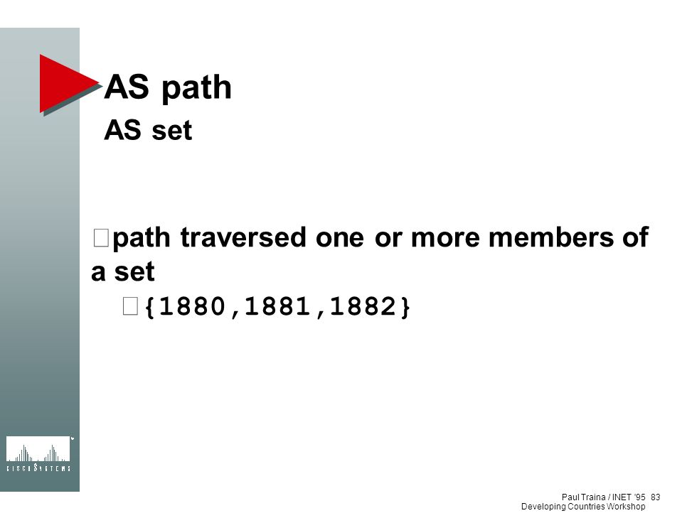 AS path AS set path traversed one or more members of a set