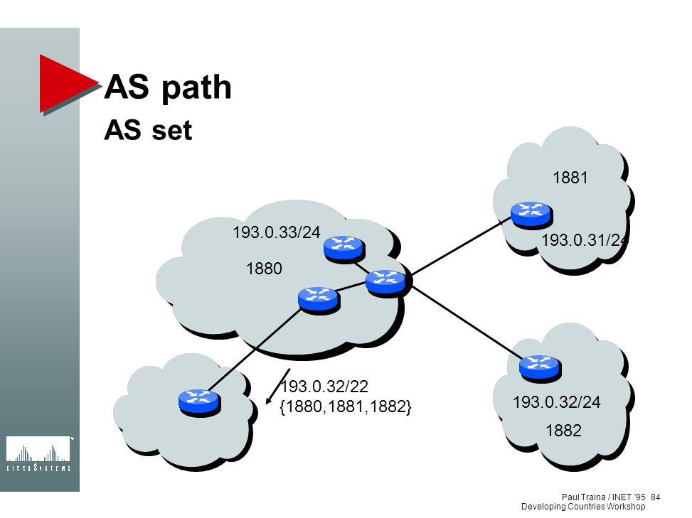 AS path AS set. 193.0.31/24. 193.0.32/24. 193.0.33/24. 1880. 1881. 1882. 193.0.32/22. {1880,1881,1882}