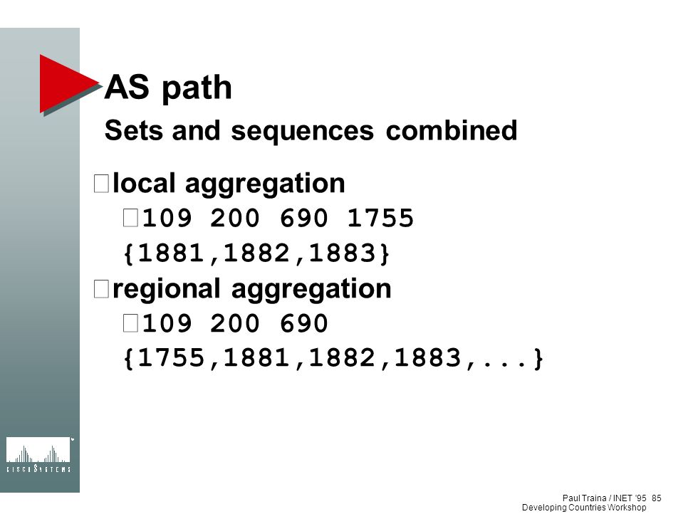 AS path Sets and sequences combined local aggregation
