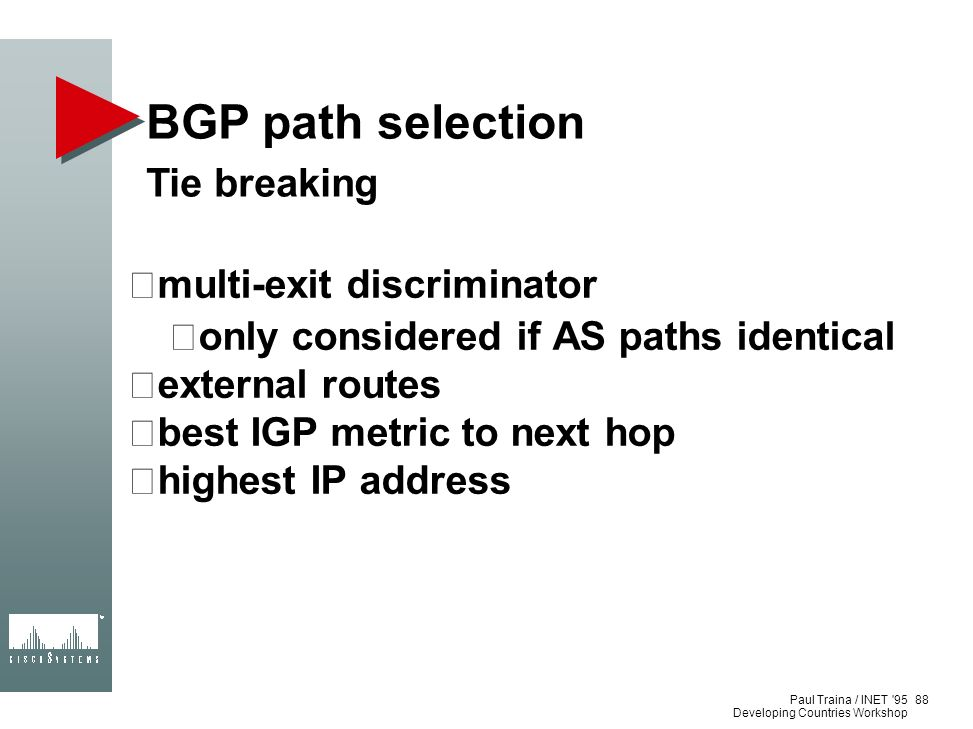 BGP path selection Tie breaking multi-exit discriminator