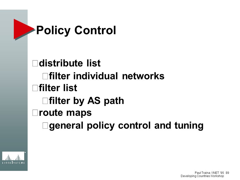 Policy Control distribute list filter individual networks filter list
