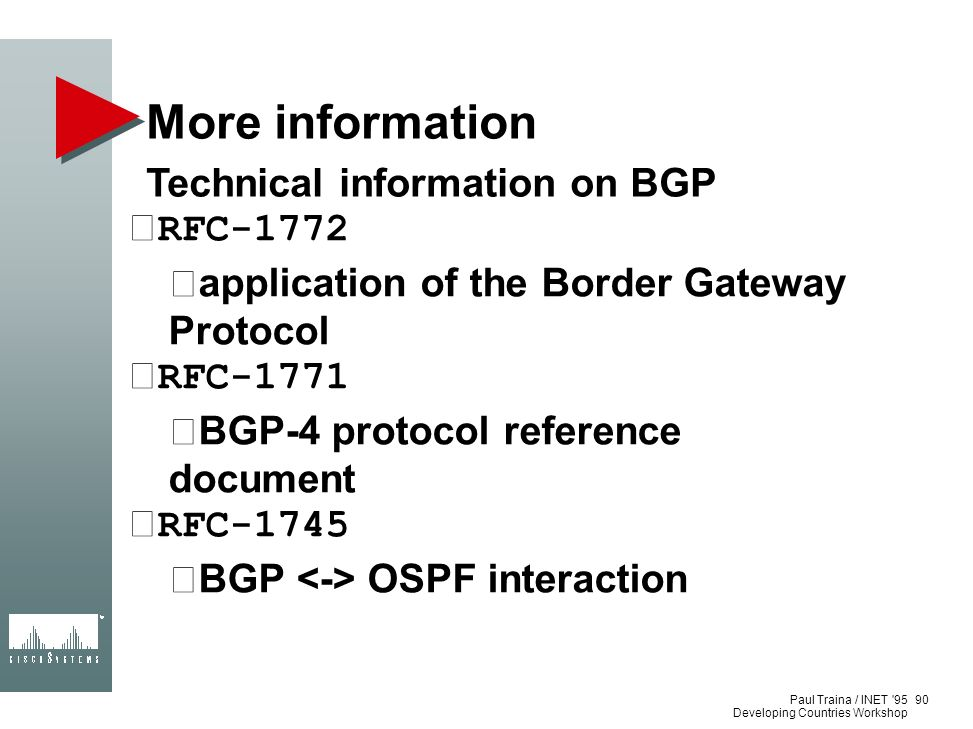 More information Technical information on BGP RFC-1772