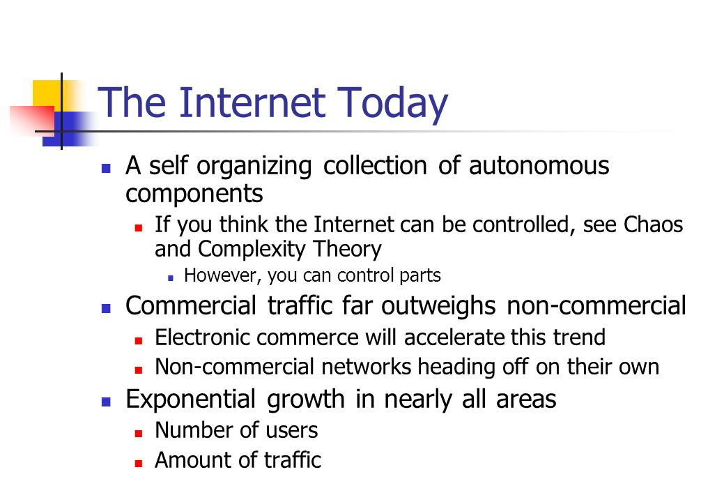 The Internet Today A self organizing collection of autonomous components.