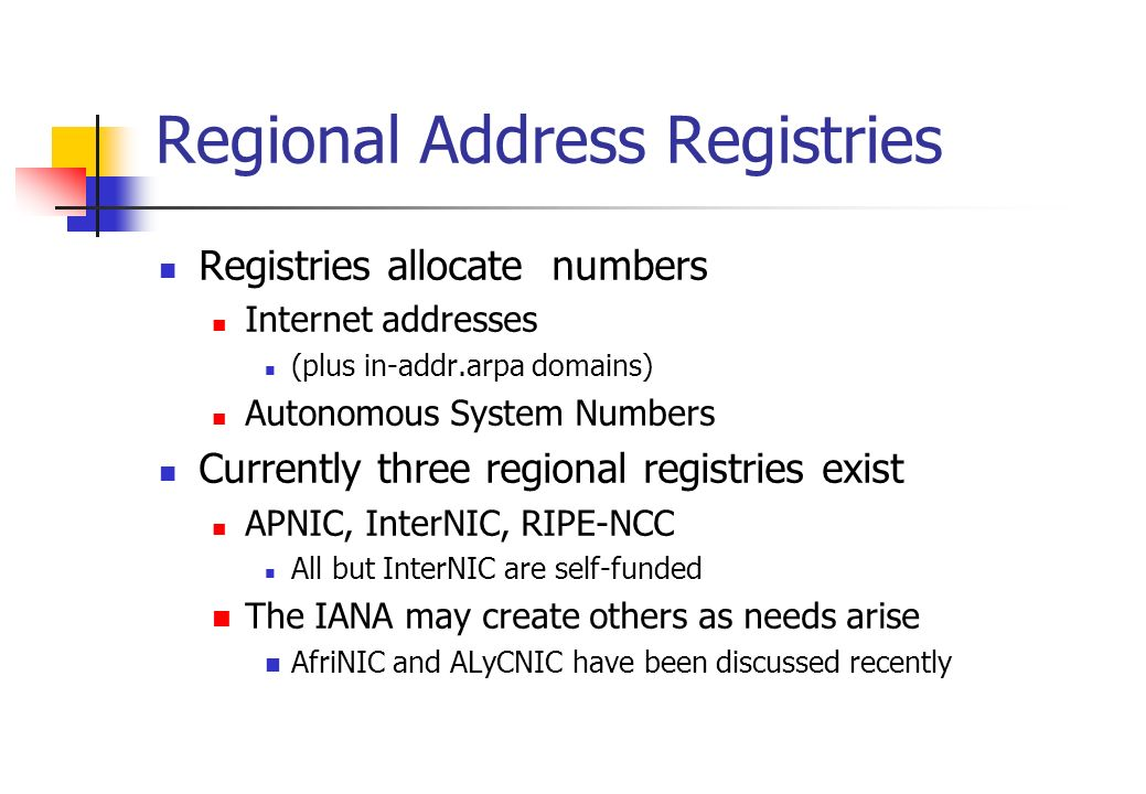 Regional Address Registries