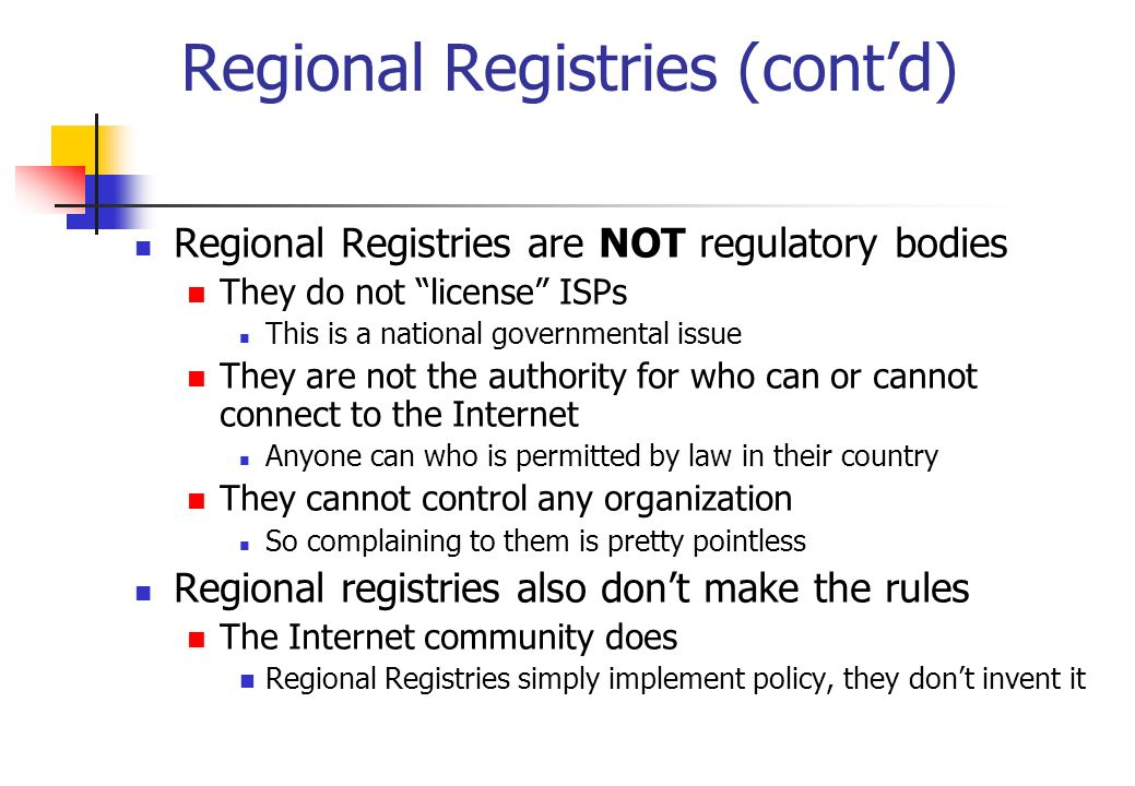 Regional Registries (cont'd)