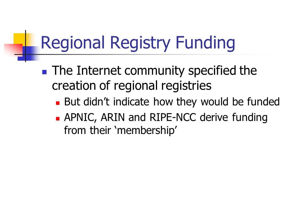 Regional Registry Funding
