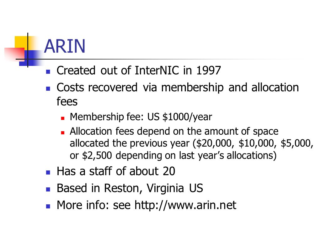 ARIN Created out of InterNIC in 1997