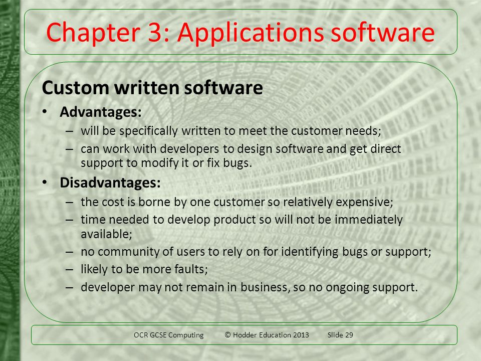 What are the types of custom made software under application software in computer applications?