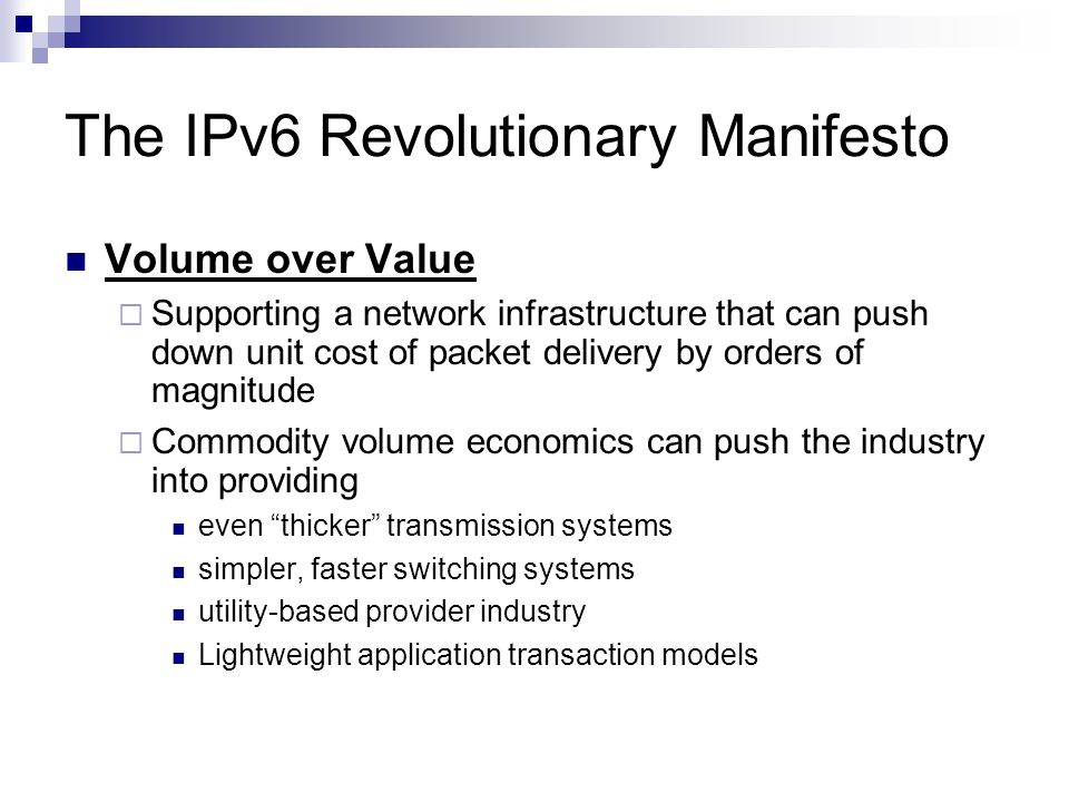 The IPv6 Revolutionary Manifesto
