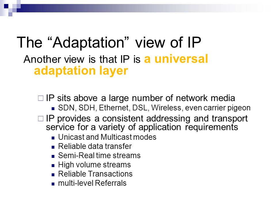 The Adaptation view of IP