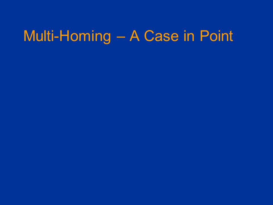 Multi-Homing – A Case in Point
