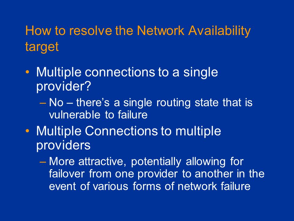 How to resolve the Network Availability target