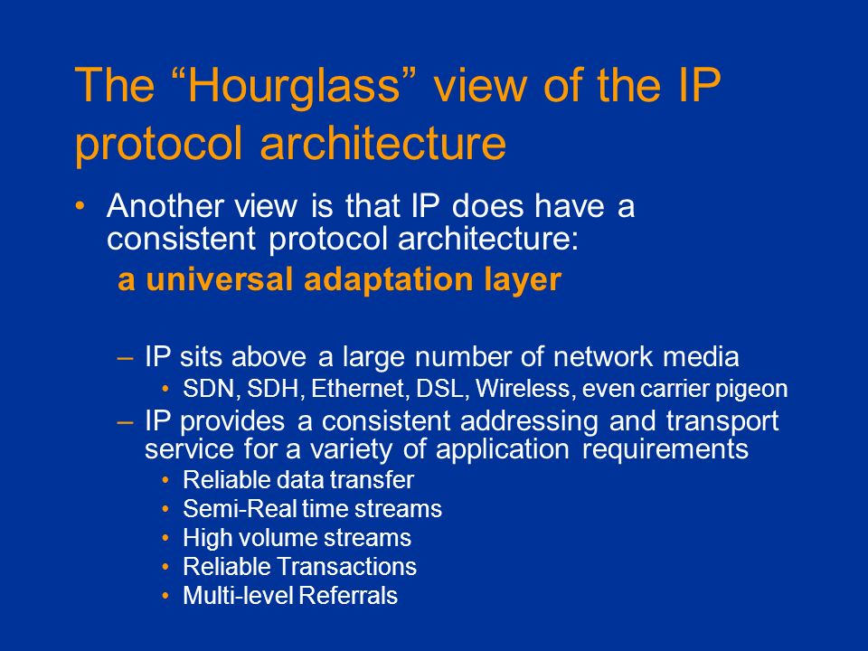 The Hourglass view of the IP protocol architecture