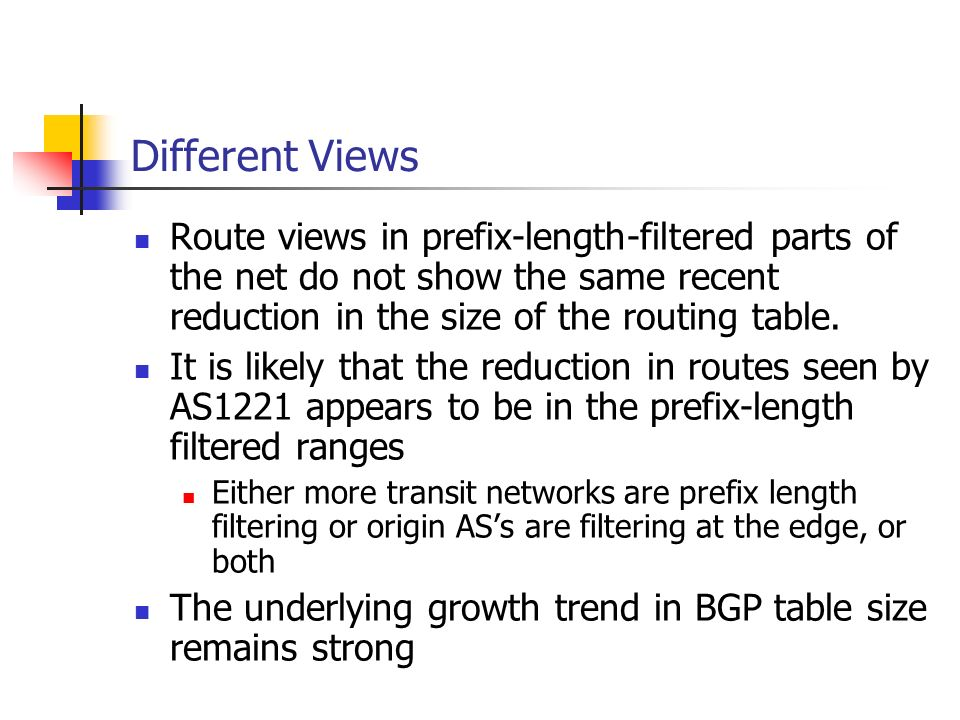 Different Views Route views in prefix-length-filtered parts of the net do not show the same recent reduction in the size of the routing table.