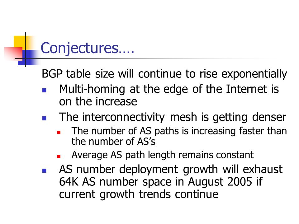 Conjectures…. BGP table size will continue to rise exponentially