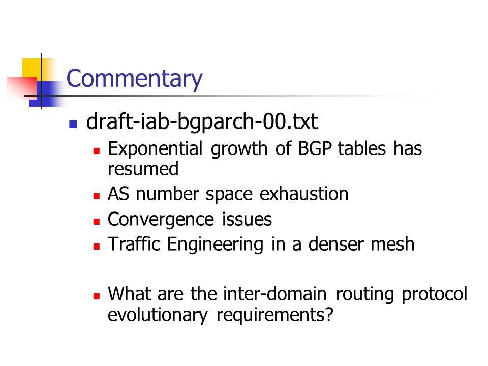 Commentary draft-iab-bgparch-00.txt
