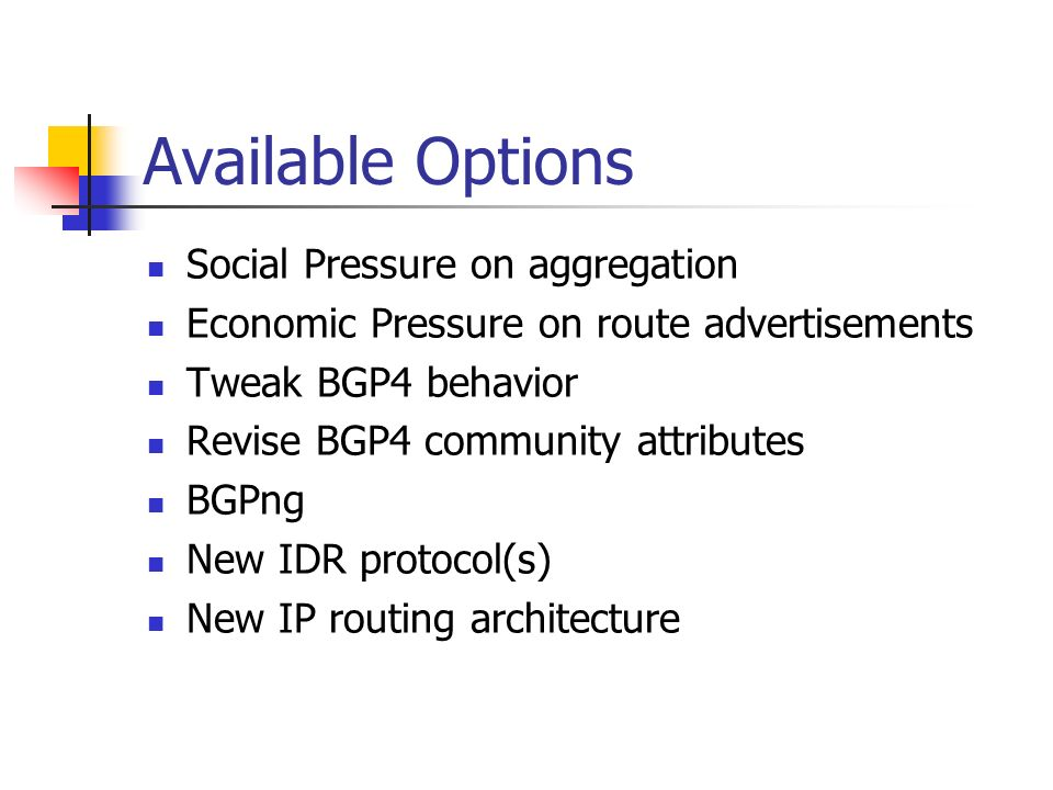 Available Options Social Pressure on aggregation