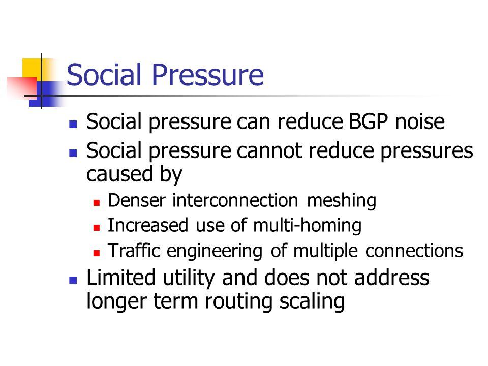 Social Pressure Social pressure can reduce BGP noise