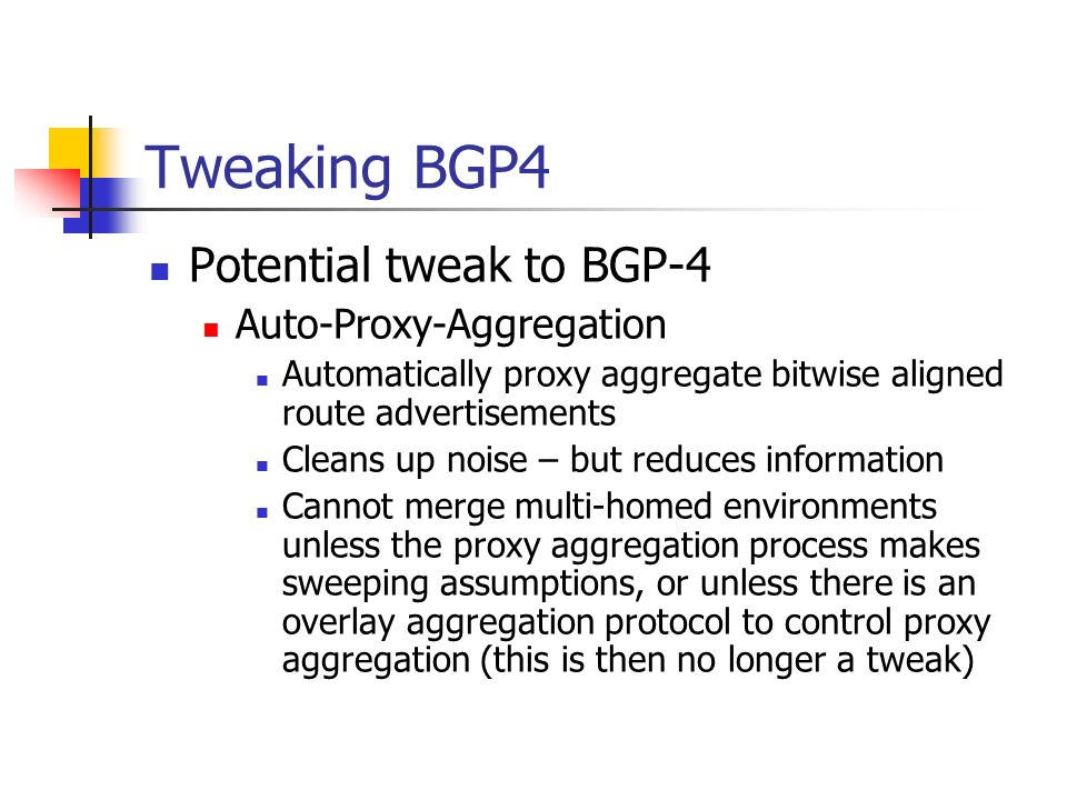 Tweaking BGP4 Potential tweak to BGP-4 Auto-Proxy-Aggregation