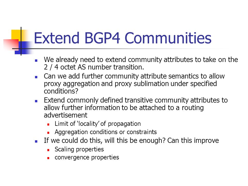 Extend BGP4 Communities