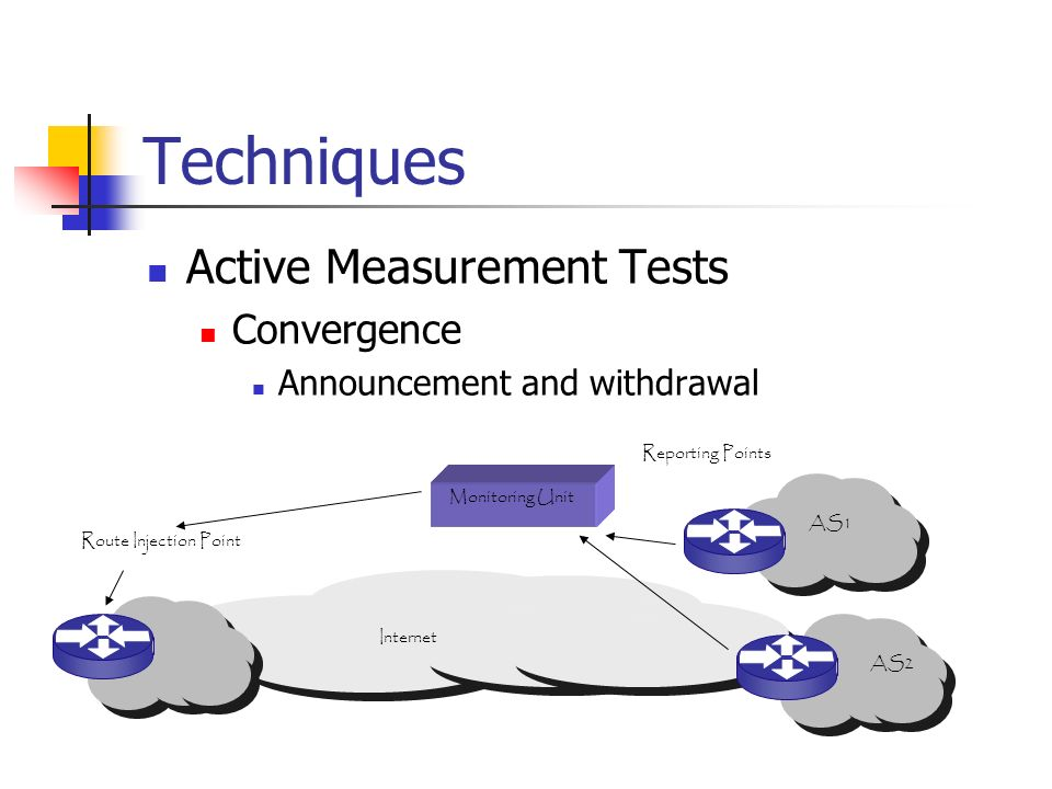 Techniques Active Measurement Tests Convergence