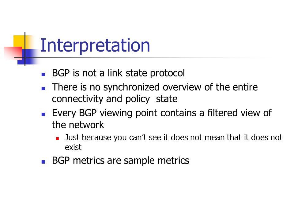 Interpretation BGP is not a link state protocol