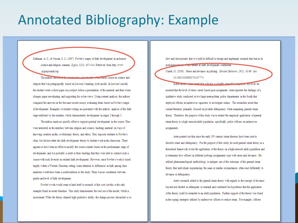 annotated bibliography for a book