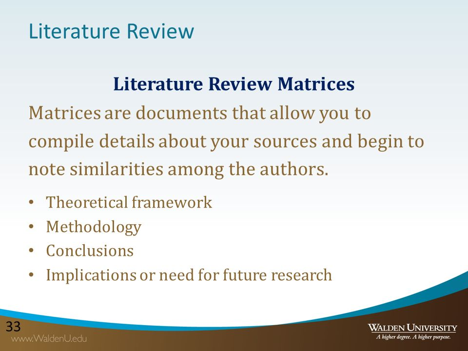 "literature review matrix method Literature review matrix this assignment expands upon the work you have been conducting for this week's discussion on ""searching and."
