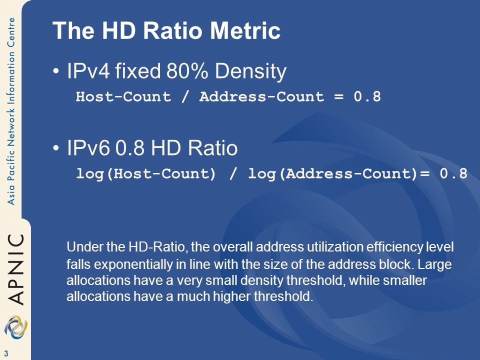 The HD Ratio Metric IPv4 fixed 80% Density IPv6 0.8 HD Ratio