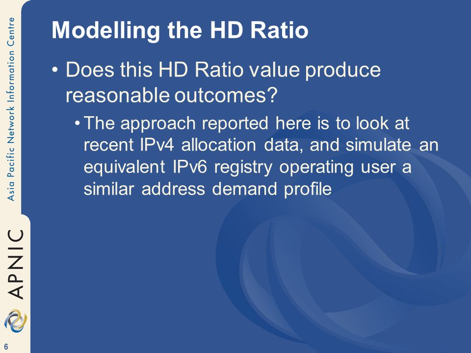 Modelling the HD Ratio Does this HD Ratio value produce reasonable outcomes
