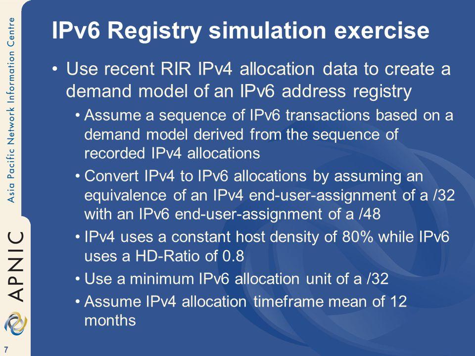 IPv6 Registry simulation exercise