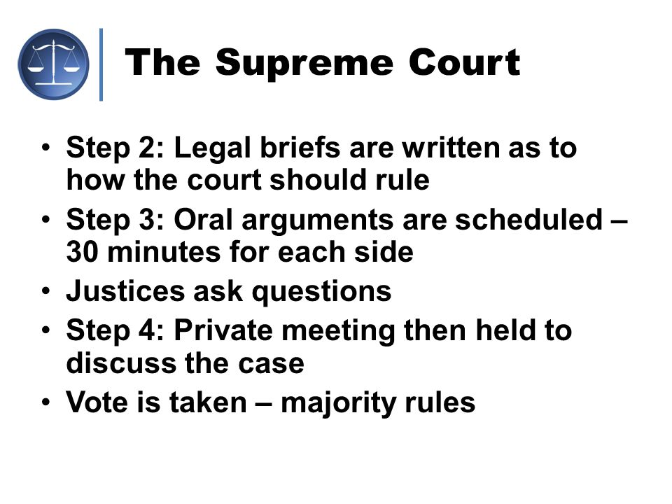 The Supreme Court Step 2: Legal briefs are written as to how the court should rule. Step 3: Oral arguments are scheduled – 30 minutes for each side.
