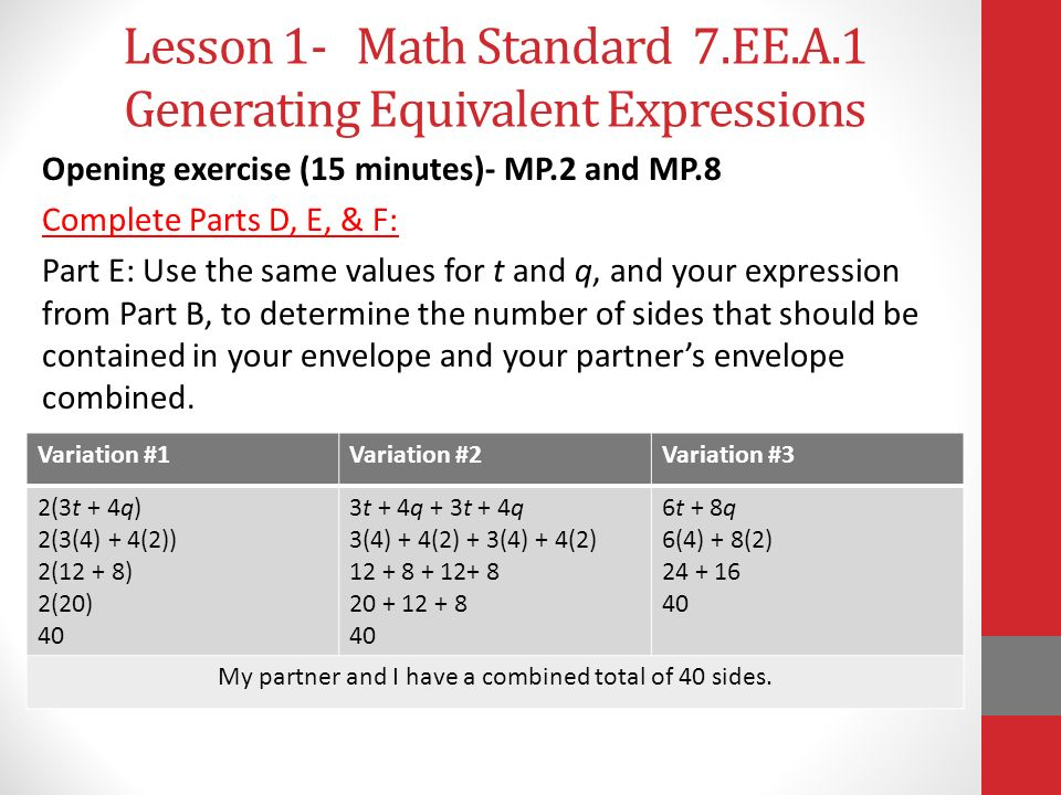 Lesson 1- Math Standard 7.EE.A.1 Generating Equivalent Expressions