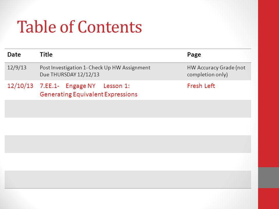 Table of Contents Date Title Page 12/10/13 7.EE.1- Engage NY Lesson 1: