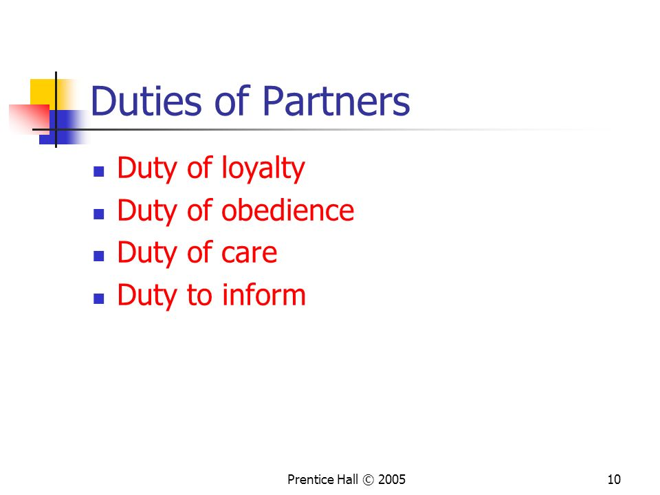 Duties of Partners Duty of loyalty Duty of obedience Duty of care