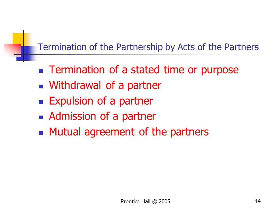 Termination of the Partnership by Acts of the Partners