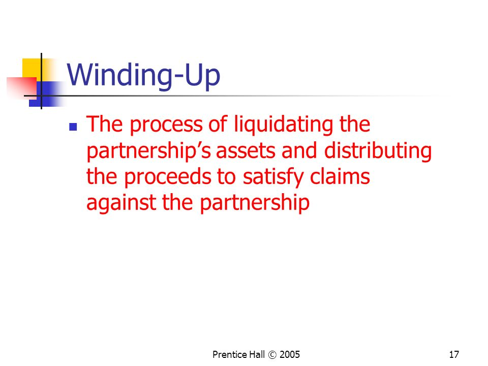 Winding-Up The process of liquidating the partnership's assets and distributing the proceeds to satisfy claims against the partnership.