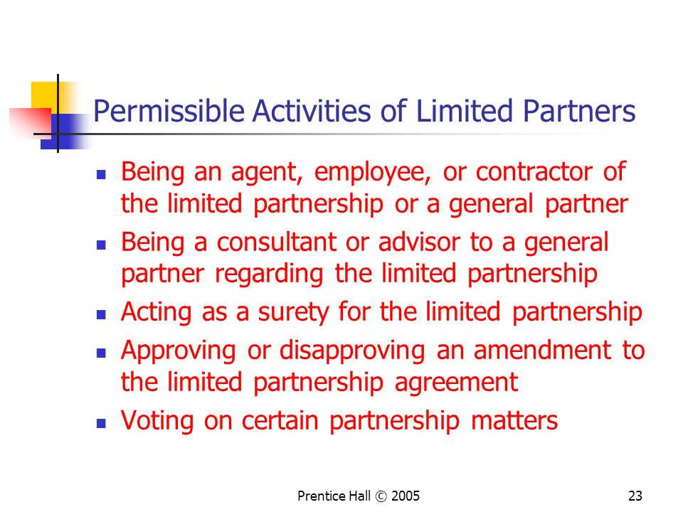 Permissible Activities of Limited Partners